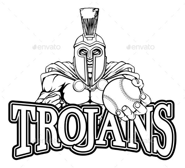 Spartan Trojan Baseball Sports Mascot - Sports/Activity Conceptual