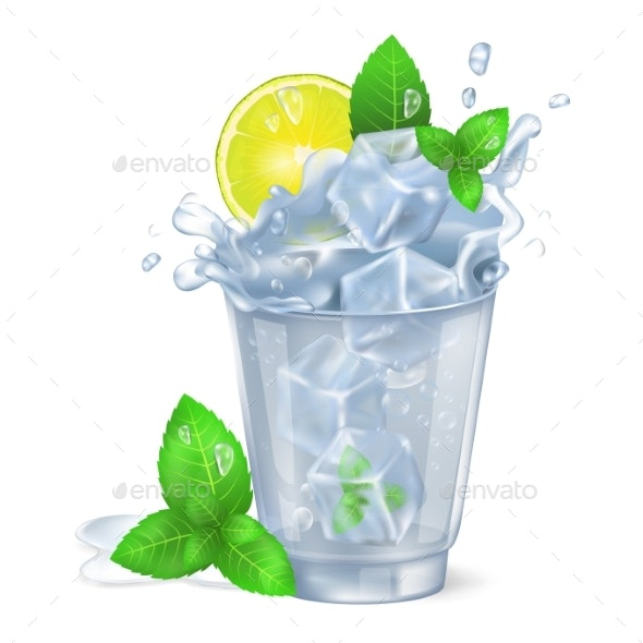 Faceted Glass of Mojito with Ice Illustration - Food Objects