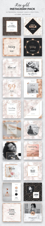 Rose Gold Instagram Pack - Social Media Web Elements