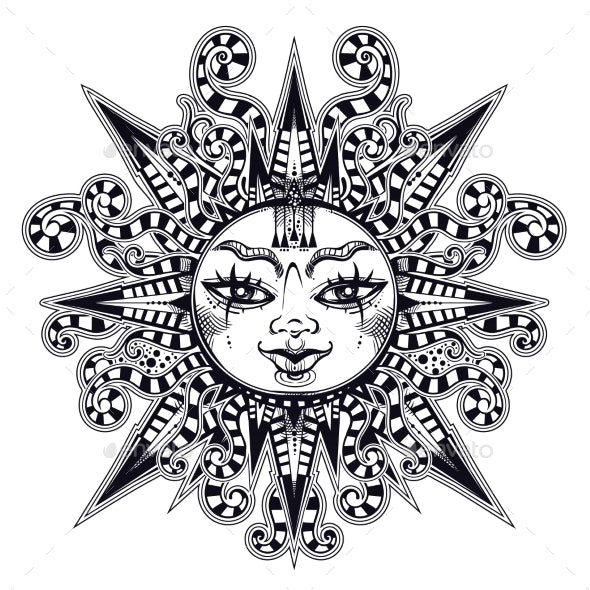 Striped Tribal Sun Star with a Human Face - Miscellaneous Characters