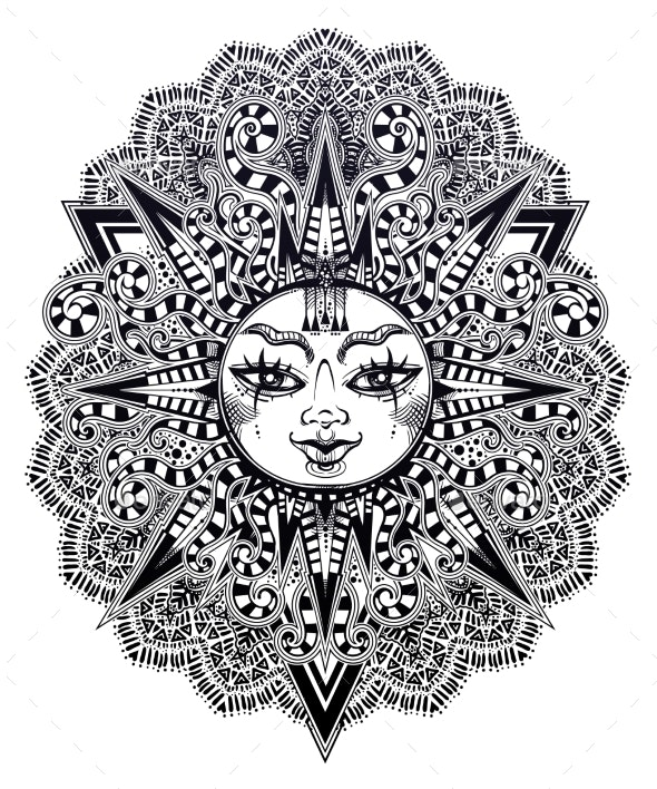 Striped Tribal Sun Star with a Human Face - Decorative Symbols Decorative