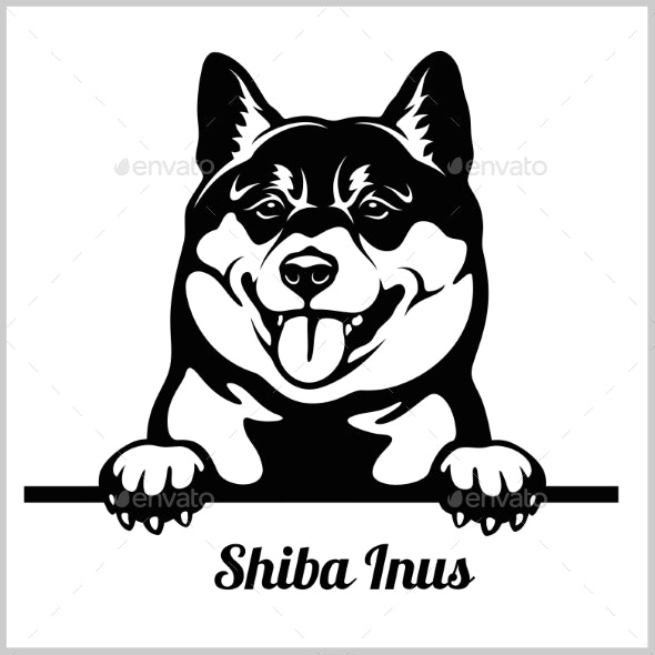 Shiba Inus Peeking Dog - Animals Characters