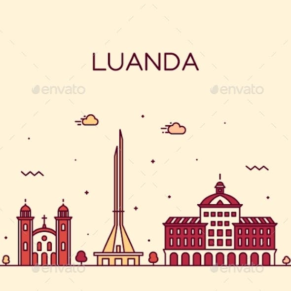 Luanda Skyline Angola Vector City Linear Style