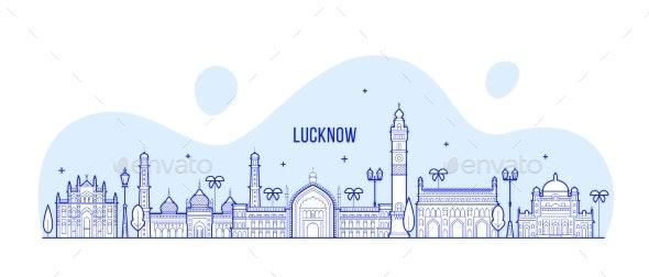 Lucknow Skyline Uttar Pradesh India City Vector - Buildings Objects