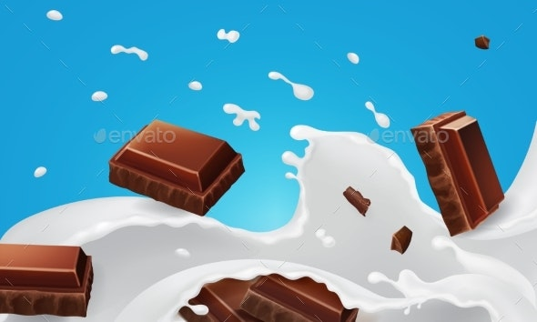 Splashes Milk and Falling Pieces of Chocolate Bar - Food Objects