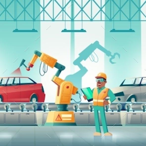 Robotized Car Factory Cartoon Vector Concept