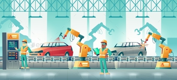 Robotized Car Factory Cartoon Vector Concept - Industries Business