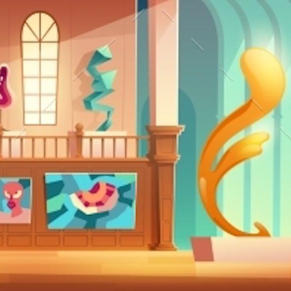 Contemporary Art Exhibition Cartoon Vector Concept