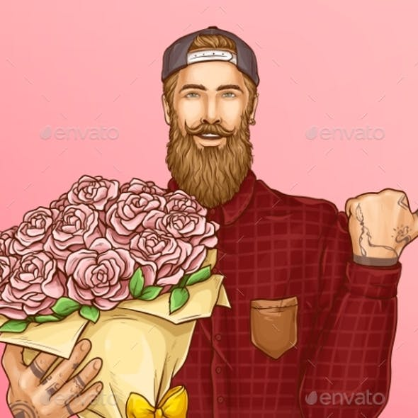 Hipster Man with Bouquet of Roses Vector
