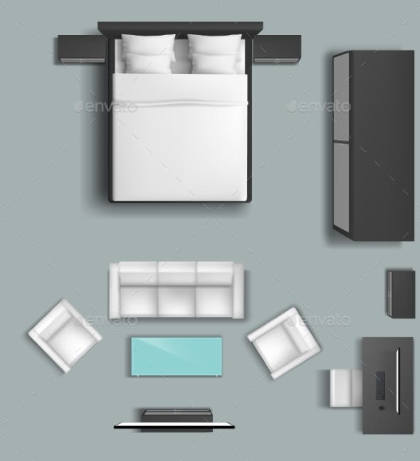 Living Room And Bedroom Furniture Vector Set By Vectorpocket