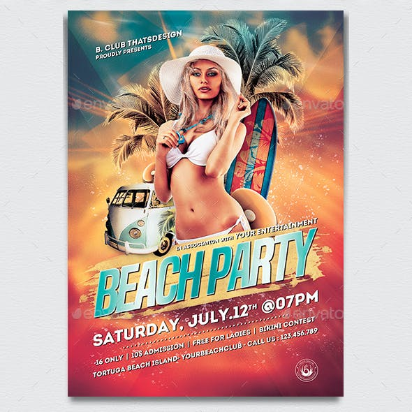 Beach Party Flyer Template V1