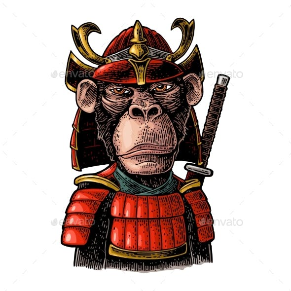 Monkey with Samurai Sword and Japan Armor