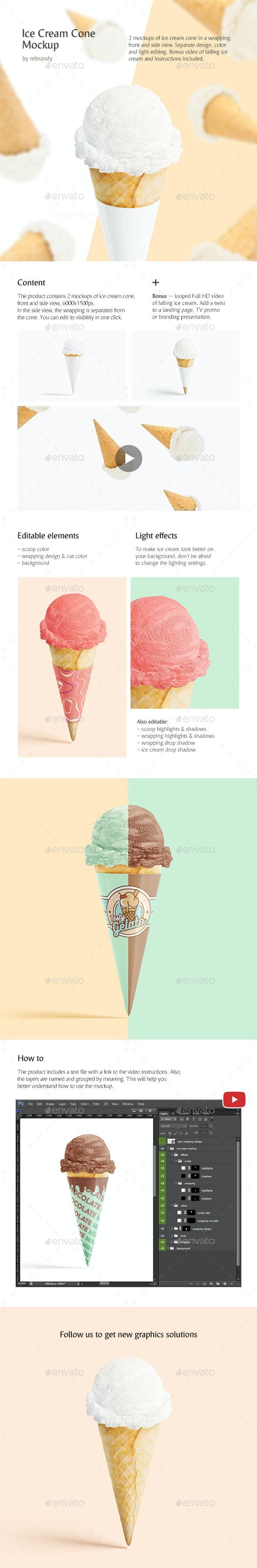 Ice Cream Cone Mockup - Product Mock-Ups Graphics