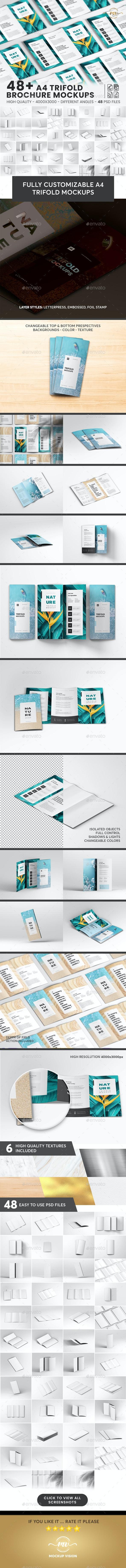 48+ A4 Trifold, Brochure Mockup Bundle - Brochures Print