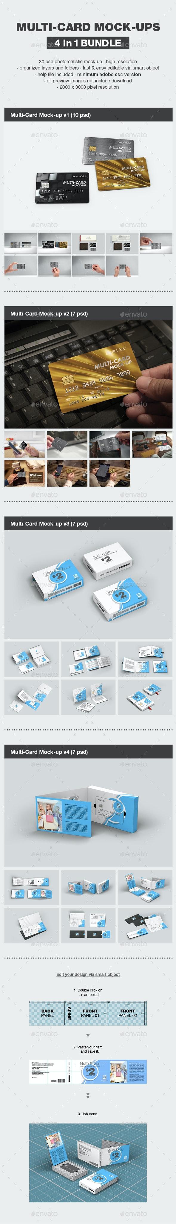 Multi-Card Mock-up Bundle - Print Product Mock-Ups