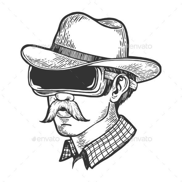 Cowboy in VR Helmet Glasses Sketch Engraving - Technology Conceptual