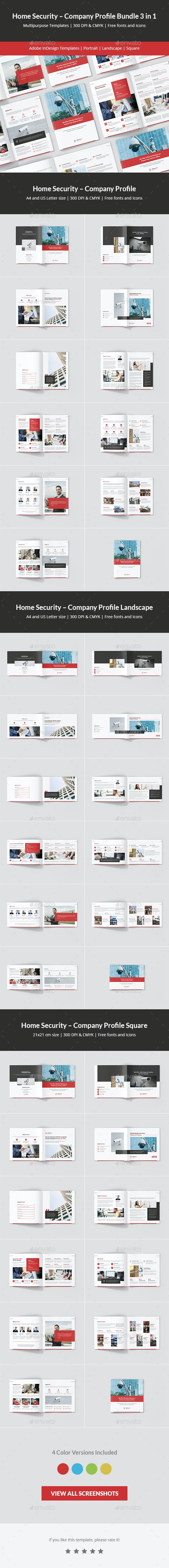Home Security – Company Profile Bundle 3 in 1 - Corporate Brochures