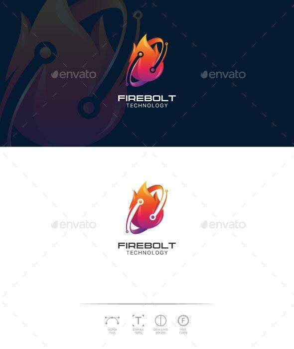 FireBolt Technology Logo Template - 3d Abstract