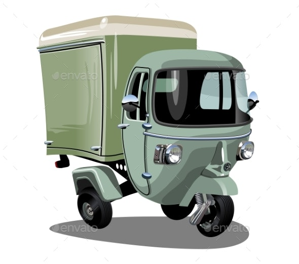 Vector Cartoon Delivery Cargo Scooter Isolated - Man-made Objects Objects