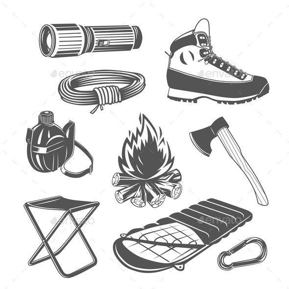 Set of Camping Equipment - Sports/Activity Conceptual