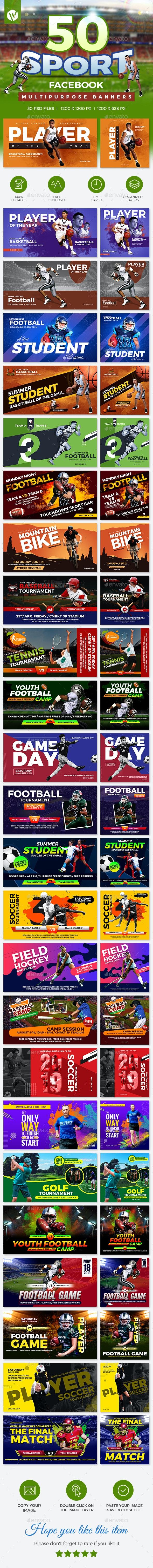 50 Facebook Sports Banners - Social Media Web Elements