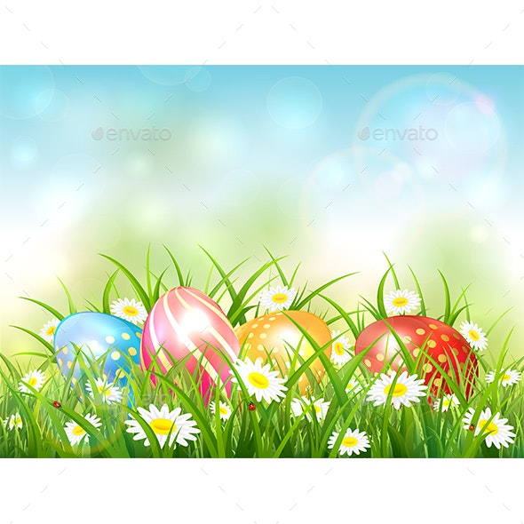 Blue Nature Background with Easter Eggs in Grass - Miscellaneous Seasons/Holidays
