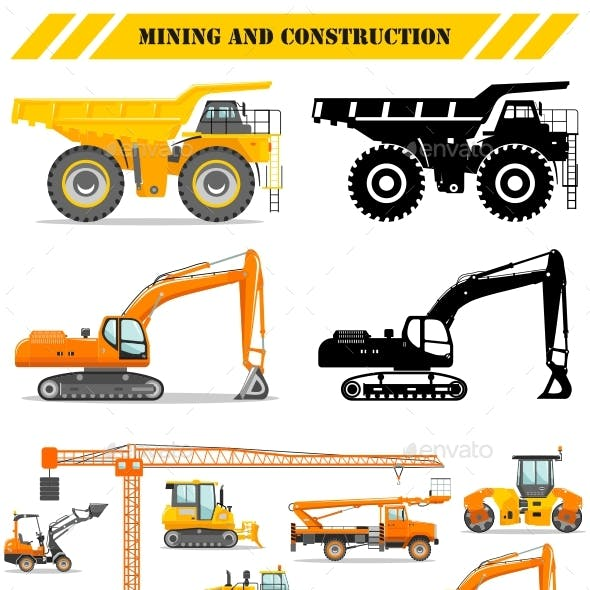 Set of Heavy Construction and Mining Machines Icons