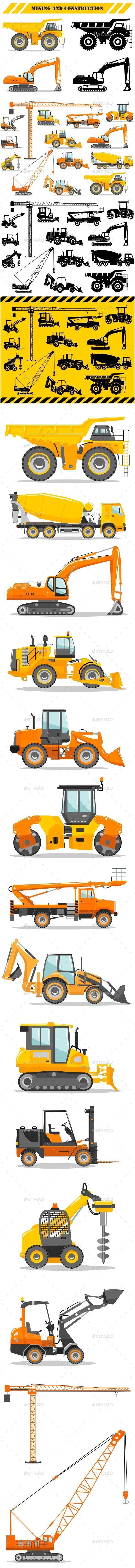 Set of Heavy Construction and Mining Machines Icons - Man-made Objects Objects