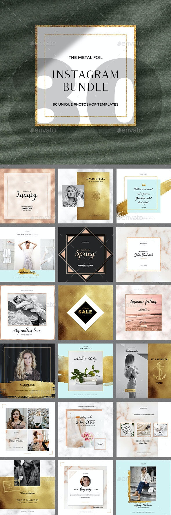 80 Instagram Posts Bundle - Metal Foil - Social Media Web Elements