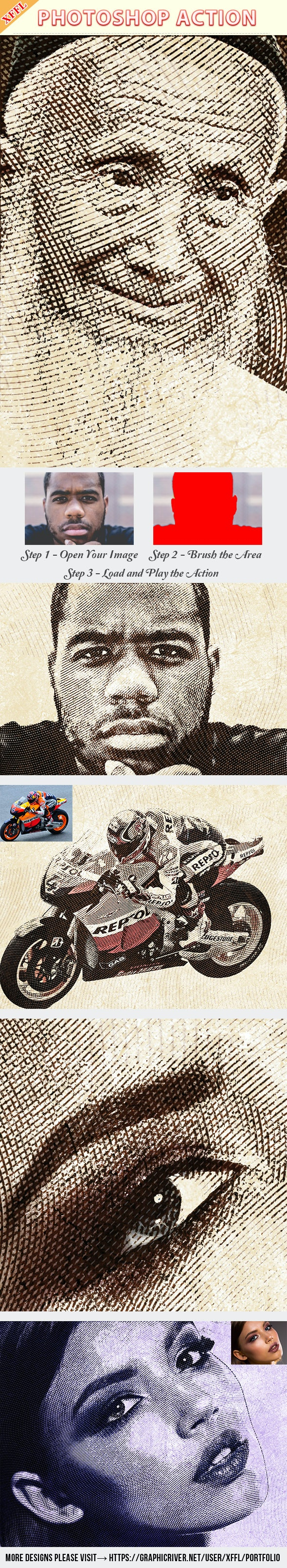 Engraved Illustration Photoshop Action - Photo Effects Actions