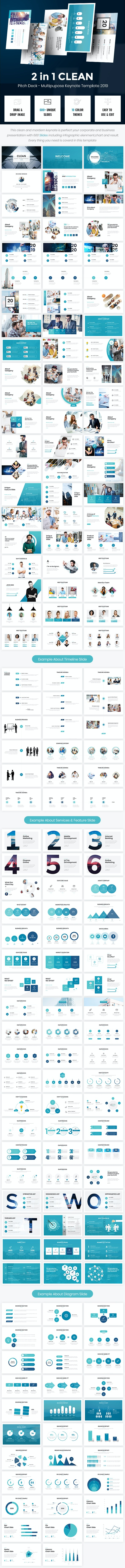 2 in 1 Clean Pitch Deck - Multipurpose Keynote 2019 - Business Keynote Templates