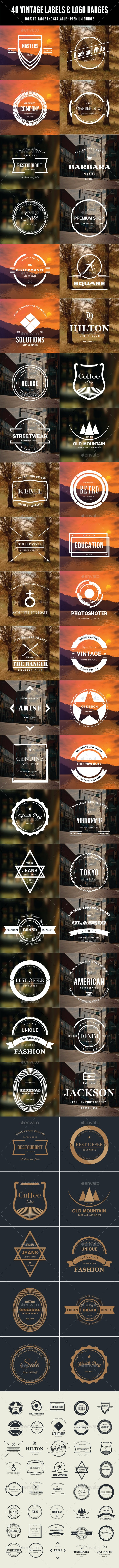 40 Vintage Labels & Logo Badges Bundle - Badges & Stickers Web Elements
