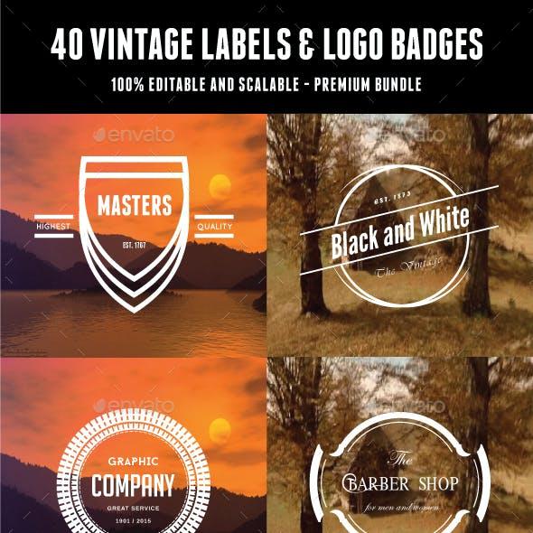 40 Vintage Labels & Logo Badges Bundle