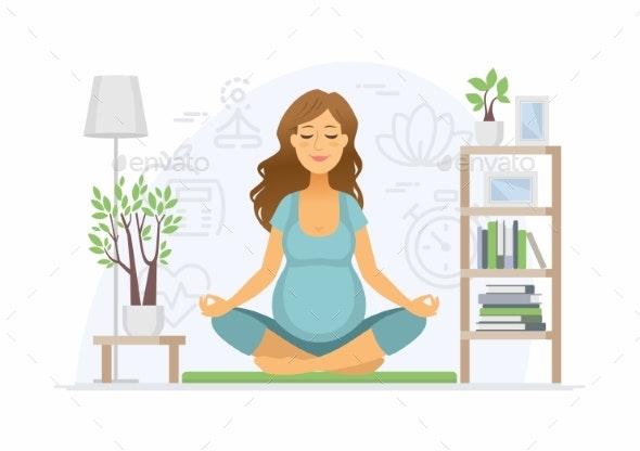 Pregnancy Yoga - Modern Vector Cartoon People - Sports/Activity Conceptual