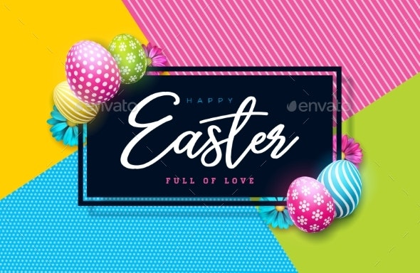 Vector Illustration of Happy Easter Holiday with - Miscellaneous Seasons/Holidays