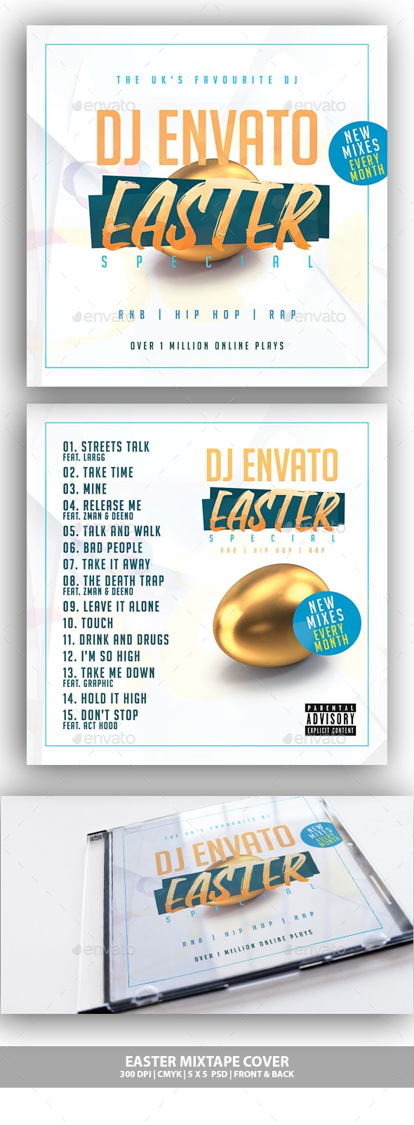 Easter Mixtape / CD Cover - CD & DVD Artwork Print Templates