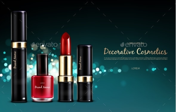 Banner with a Female Collection of Makeup - Backgrounds Business