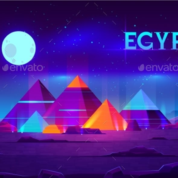 Egyptian Pyramids Night Landscape Cartoon Vector