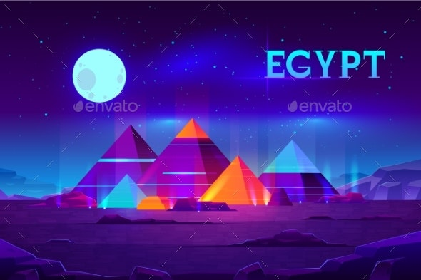 Egyptian Pyramids Night Landscape Cartoon Vector - Buildings Objects