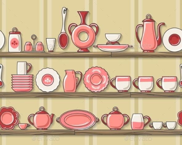 Rustic Kitchen Seamless Pattern - Miscellaneous Vectors