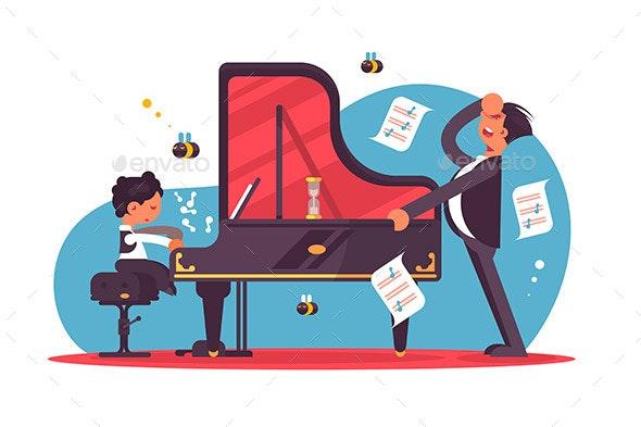 Stressed Piano Tutor Teaching Boy - Miscellaneous Vectors