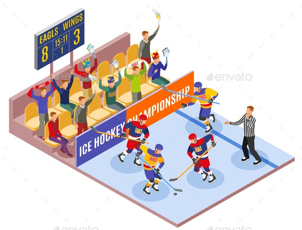 Ice Hockey Championship Isometric Composition - Sports/Activity Conceptual
