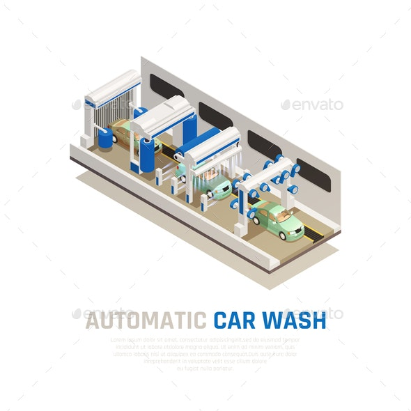 Carwash Service Isometric Concept - People Characters