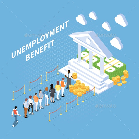 Unemployment Benefits Isometric Composition - People Characters