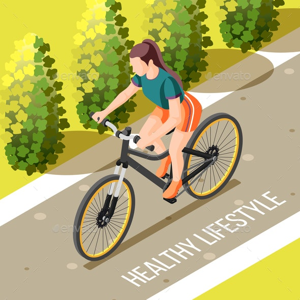 Healthy Lifestyle Isometric Illustration - Sports/Activity Conceptual