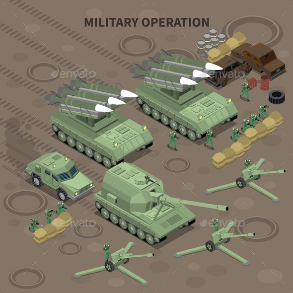 Military Operation Isometric Background - Man-made Objects Objects