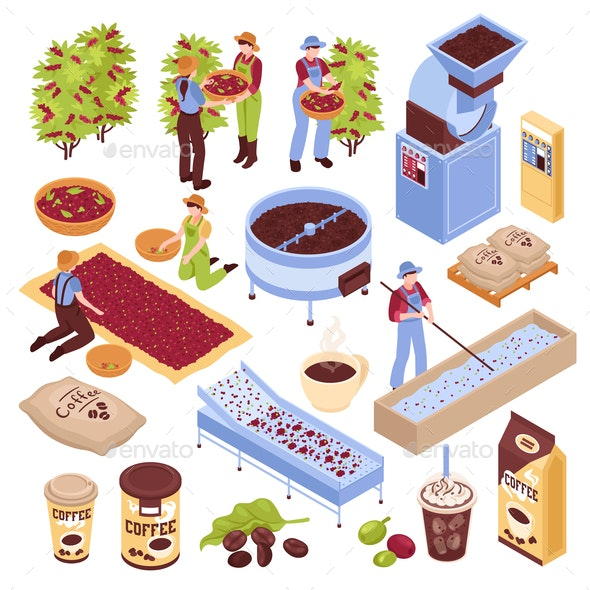 Coffee Production Elements Set - Industries Business