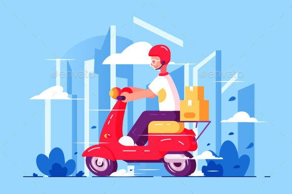 Man Courier Driving on Scooter - Man-made Objects Objects