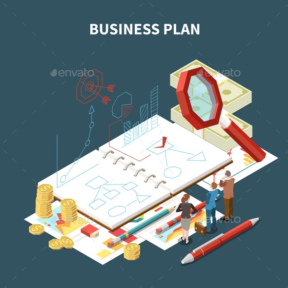 Isolated Isometric Business Strategy Composition - People Characters