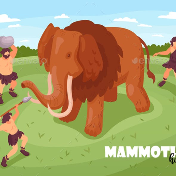 Mammoth Hunt Isometric Background